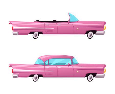 レトロな車。ビンテージのローライダー。漫画のベクトル図です。オールドスクール スタイル。バナーのロゴのステッカー  イラスト・ベクター素材
