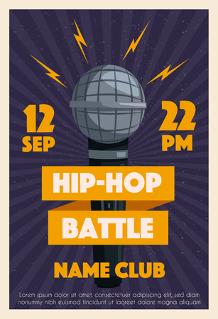 Hip hop poster with microphone. Cartoon vector illustration. Party and fun. For web and print