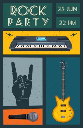 audio mixer: Rock music poster. Old school party. Cartoon vector illustration. Illustration