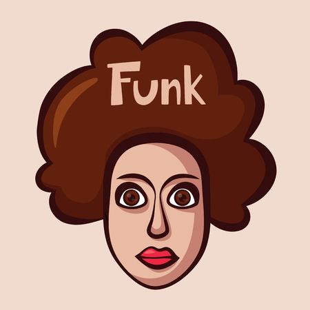 Funky logo with woman. Funk music. Cartoon vector illustration