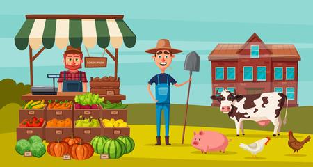 농장은 농부, 제품 및 동물로 설정됩니다. 만화 벡터 일러스트 레이 션.