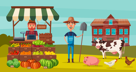 Farm set with farmers, products and animals. Cartoon vector illustration. Stok Fotoğraf - 87355762