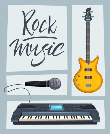 audio mixer: Rock music poster. Old school party. Cartoon vector illustration. Vintage style. For print and web. Live festival. For concert promotion in clubs, bars, pubs and public places. Illustration