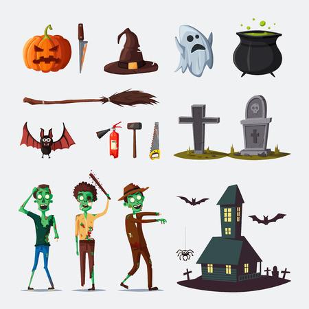 Set of different Halloween symbols.