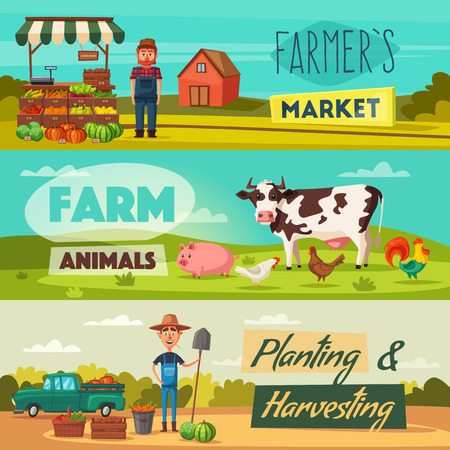 Farm set with farmers, products and animals. Cartoon vector illustration. Çizim