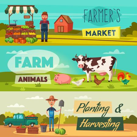 Farm set with farmers, products and animals. Cartoon vector illustration. Ilustração