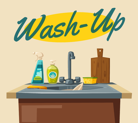 Dishwashing with soap sink and sponge. Cartoon vector illustration. For web and print. Professional Cleaning Çizim