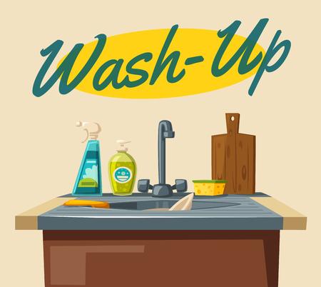Vaisselle avec un évier de savon et une éponge. Illustration de vecteur de dessin animé Pour le web et imprimer. Nettoyage professionnel Vecteurs