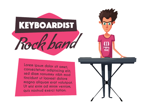 pianista: Electronic music Synthesizer instrument vector illustration.