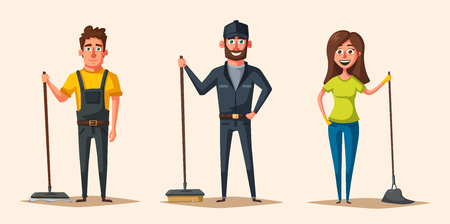 Cleaning staff character with equipment. Illustration