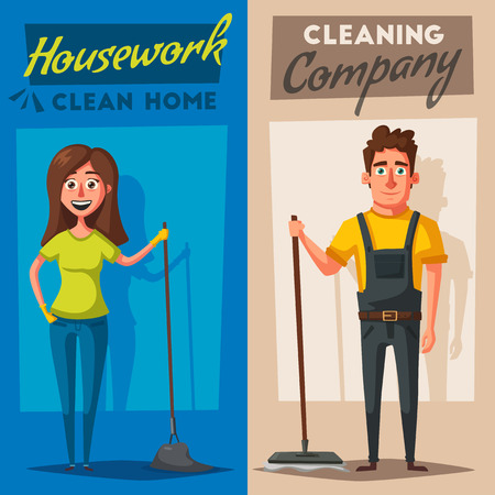 Cleaning staff character with equipment vector illustration.