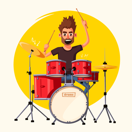 Drummer. Rock music. Cartoon vector illustration.