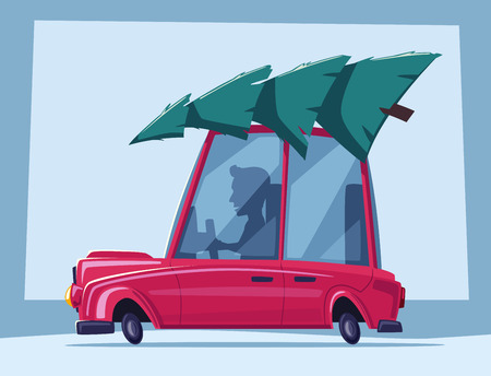Man is driving a vintage car with christmas tree on the roof. Cartoon vector illustration
