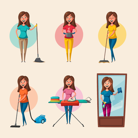 Set of housewife characters. Cleaning theme. Cartoon vector illustration  イラスト・ベクター素材