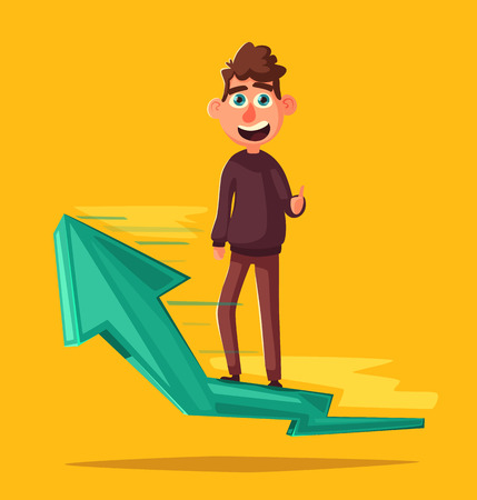 Successful person standing on up arrow. Character giving thumb up. Catoon vector illustration. Happy man