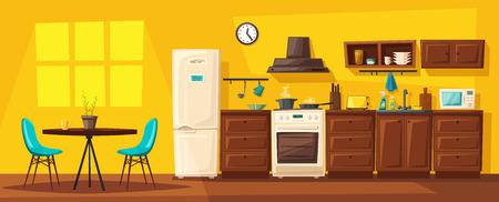 Cocina interior con muebles. Ilustración de vector de dibujos animados