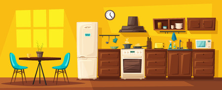 Wnętrze kuchni z meblami. Ilustracja wektorowa kreskówka