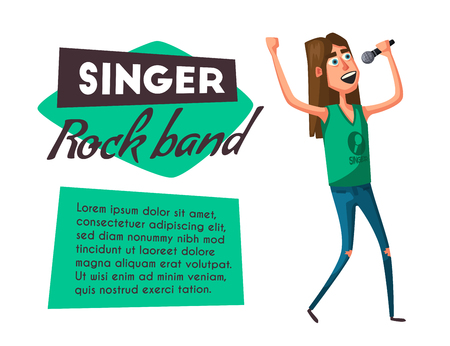 Rock music band character. Old school party. Cartoon vector illustration. Vintage style. Live festival. Singer Vectores