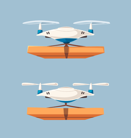 Drone for air delivery. Modern technologies. Cartoon vector illustration