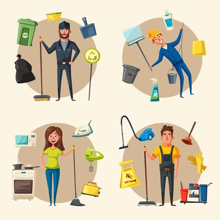 Nettoyage caractère personnel avec le matériel de nettoyage. vecteur Cartoon illustration. Nettoyage, entreprise, service. L'homme en uniforme. nettoyeur professionnel.