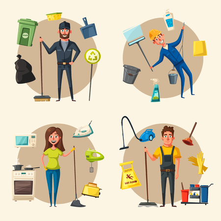 Cleaning staff character with cleaning equipment. Cartoon vector illustration. Cleaning company, service. Man in uniform. Professional cleaner. Illustration