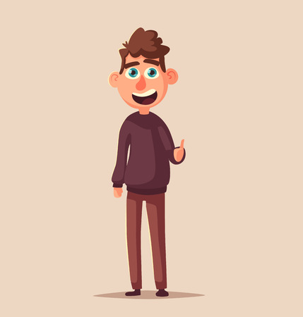 Successful person standing with raised arm up. Character giving thumb up. Catoon vector illustration Stock Photo
