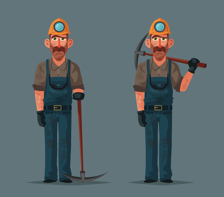 Coal mining. Miner character and tools. Cartoon vector illustration. Extraction industry. Worker's equipment.