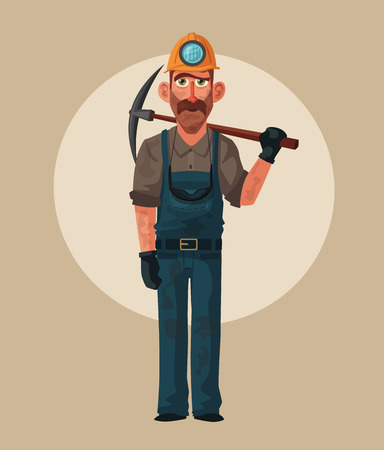 Coal mining. Miner character and tools. Cartoon vector illustration