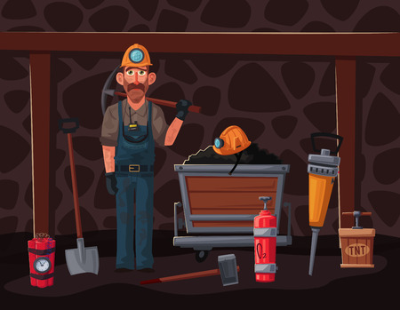 Coal mining. Miner character and tools. Cartoon vector illustration. Extraction industry. Worker's equipment. Set of banners