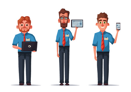 Sellers with Phone, Tablet and Laptop. Cartoon vector illustration. Funny characters. Good employees. Electronics store. Shop assistant is showing product. Online sales