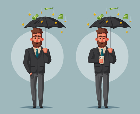 Successful, happy businessmen in suits with umbrella Cartoon vector illustration Illustration