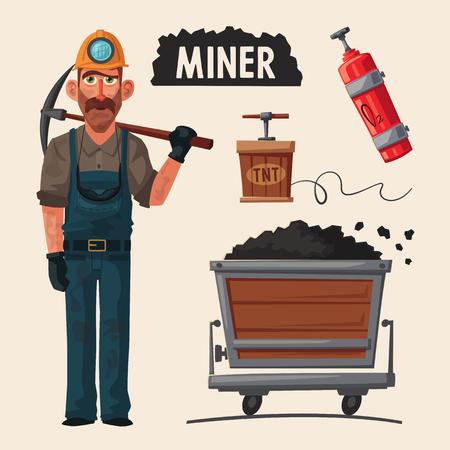 Mine de charbon. Caractère mineur et outils. Illustration de vecteur de dessin animé