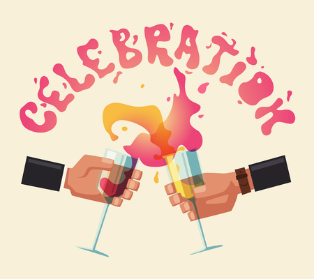 Chin-chin. Clinking glasses with alcohol and toasting, drink party. Cartoon flat vector illustration. Best friends, or coworkers. Celebration and fun. Hang out. Alcohol splash