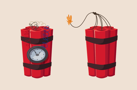TNT time bomb with clock. Cartoon vector illustration. Mining theme. For web or print