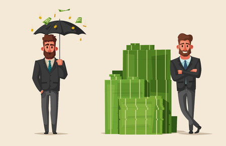 Successful, happy businessmen in a suit. Cartoon vector illustration. Funny characters. Big stack of money. Pile of cash. Savings and finance concept.