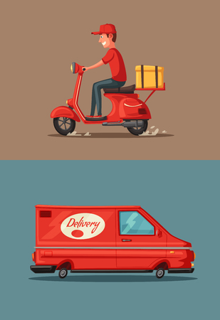 Delivery service by van and motorbike. Car for parcel delivery. Cartoon vector illustration