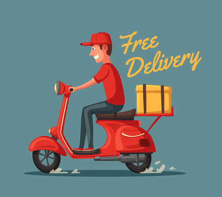 Consegna rapida e gratuita. Illustrazione di cartone animato vettoriale Servizio di ristorazione. Scooter retrò.