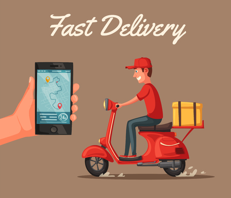 Fast and free delivery. Vector cartoon illustration. Vintage style. Food service. Red scooter. Retro bike. For banners and posters.