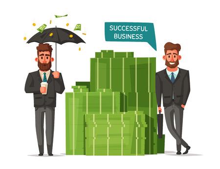 Successful, happy businessmen in a suit. Cartoon vector illustration.