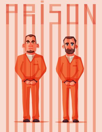 Prisoners in prison. Character design. Cartoon illustration
