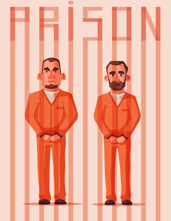 Prisoners in prison. Character design. Cartoon illustration