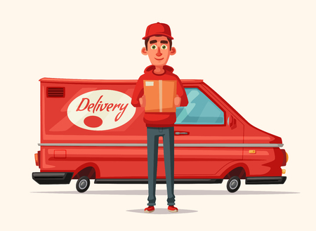 Delivery service by van. Car for parcel delivery. Cartoon vector illustration. Fast delivery truck or lorry. Funny character design. Cute deliveryman