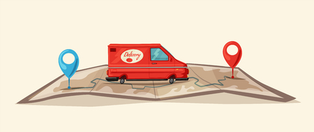 Delivery service by van, Car for parcel delivery in Cartoon illustration. Çizim