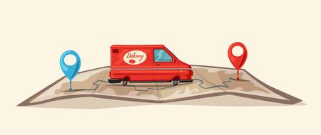 Servicio de entrega en furgoneta, coche para entrega de paquetes en la ilustración de dibujos animados.