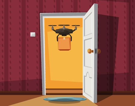 Delivery drone holding a box on doorway. Cartoon vector illustration