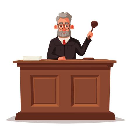 Judge character with hammer. Cartoon vector illustration