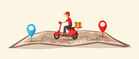 Fast and free delivery by scooter. Vector cartoon illustration. Food service.