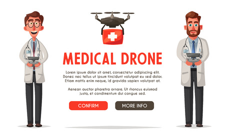 Smart doctor with drone. Modern hospital. Cartoon vector illustration Vectores