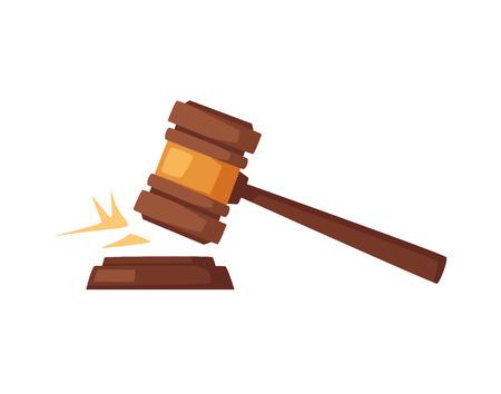 Juge en bois marteau Cartoon vector illustration isolé sur fond uni.