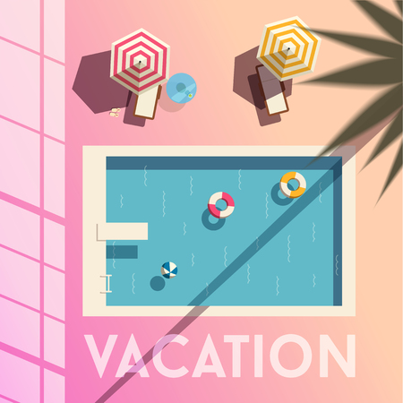 vacation text with Swimming pool. Flat vector illustration.